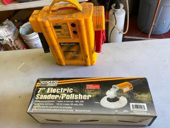 "Lot of 4; 7"" Electric Sander/Polisher, Roadmaster Jump n' Start Power Station Portable JNS1800, 3/8"""