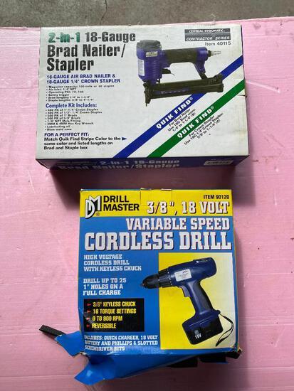 Lot of 2; Drill Master Cordless Drill, 18 Gauge Brad Nailer/ Stapler