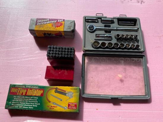 Lot of 4; Number/ Letter Set, Impact Screwdriver Set, Tire Inflator, Craftsman Socket Set