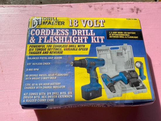 Brand New Drill Master 18 Volt Cordless Drill and Flashlight Kit