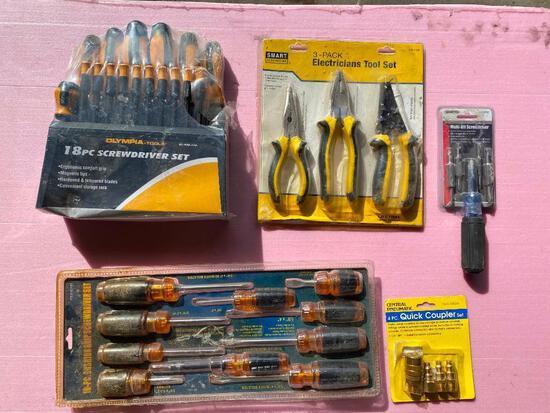 Lot of 5; New tools- Coupler Set, Screwdrivers Set, Electricians Tool Set