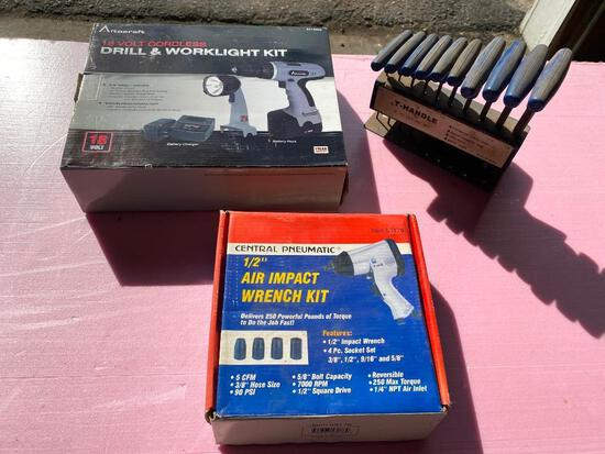 """Lot of 3; New 18 Volt Cordless Drill and Worklight Kit, T-Handle Hex Key Set, 1/2"""" Air Impact Wrench"""