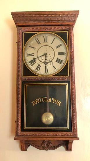 "Oak Regulator Waterbury Time Only Clock 37""x16"""