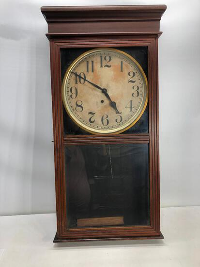 "Ingraham Cherrywood Regulator School/Courthouse Clock 39""x16"""