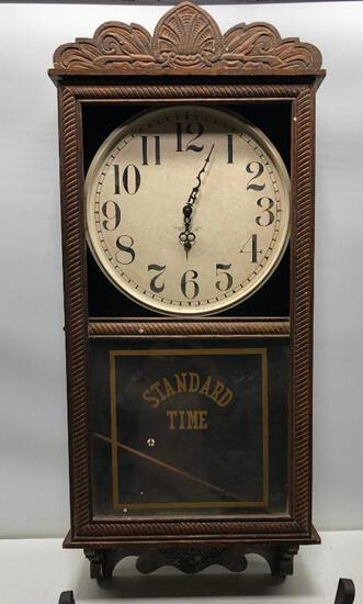 "New Haven Time Only Misseng Top Glass School/Courthouse Clock Regulator 36""x16"""