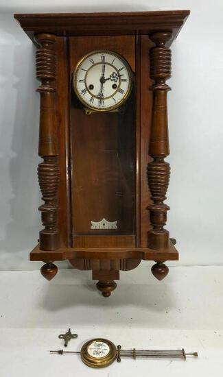 "Gustav Becker Walnut Clock 29""x15"""