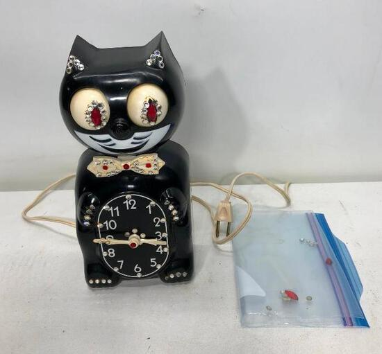 Black KitKat Klock with Jewels, Works, Missing Some Jewels/ Tail