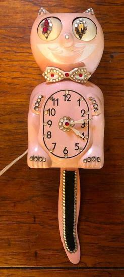 Pink KitKat Klock with Jewels, Works, Missing Some Jewels