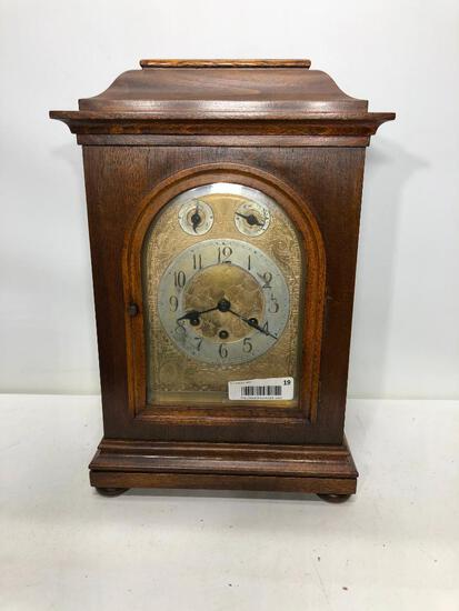 "Gustav Becker 17.5""x11.5"" Walnut Case Carriage Clock, Fancy Brass Dial, Beveled Glass Door"