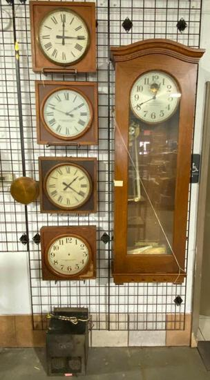 Cozad NE Standard Electric Time Co School House Clock Set w/ Matching Slave Clocks Springfield, Mass