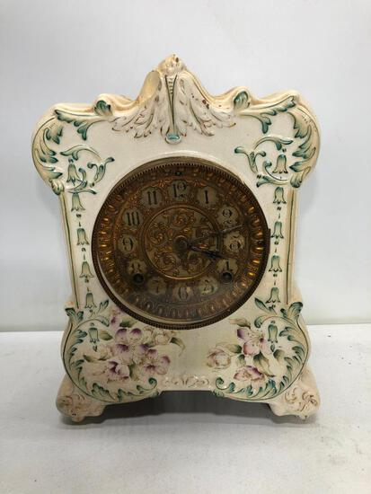 Ansonia Porcelain (Chipped), Brass Dial, Mantle Clock