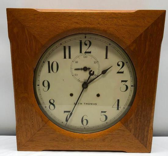 "Seth Thomas Oak 30 Day Wall Clock with 14"" Dial and Second Hand"