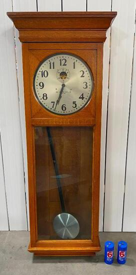 "65"" Tall Self-Winding Clock Co. New York with Tiger Oak Case - Master Wall Regulator"