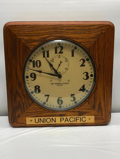 "Self-Winding Clock Co. Union Pacific Clock, 21""x21"" with 15"" Dial"