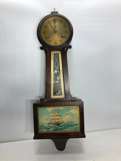 New Haven Banjo Clock, Ship Picture with Initials J.W.