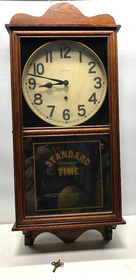 "New Haven Standard Time, Time Only Clock 13"" Dial, Oak Case 36""x75"""