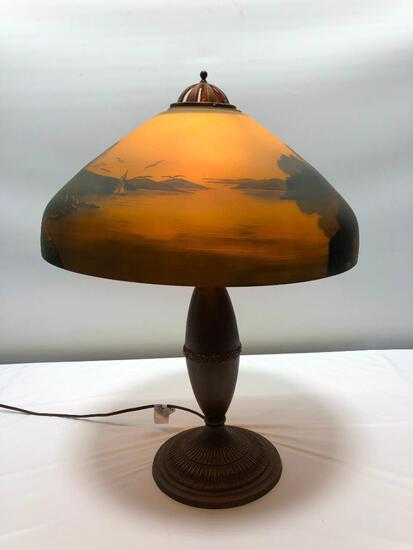 """Beautiful Hand Painted Lighthouse Nautical Themed Reverse Painted Antique Lamp 21""""x16"""""""