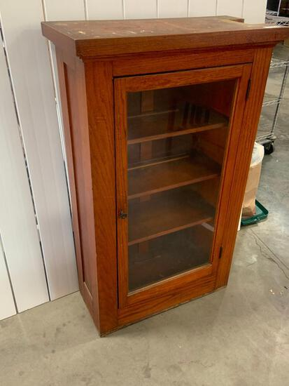 Oak Built-In Bannister Cabinet from Arts and Crafts Home - Glass Door, Architectural Salvage