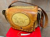 Vintage Leather Range or Shooters Bag w/ Awesome Leather Tooling & Hunting Dog Scene