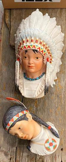 Native American Ceramic Head Wall Hangings, Cybis, Lot of 2