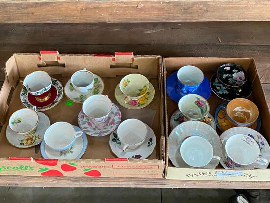 Antique Hand Painted Cups and Saucers