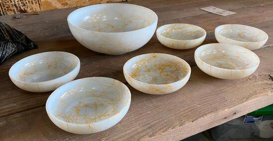 7 Piece Vintage Marble Like Bowl Set, 1 Large Bowl, 6 Smaller Bowls, Unique