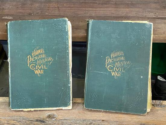 Lot of 2 Harper's Pictoral History of the Civil War Books w/ Stories and Etchings