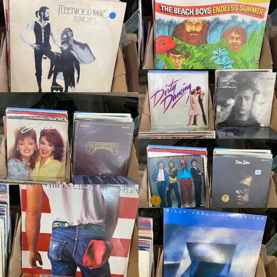 Vintage 33 RPM Record Collection with Great Rock n Roll and Country Albums, See Pictures
