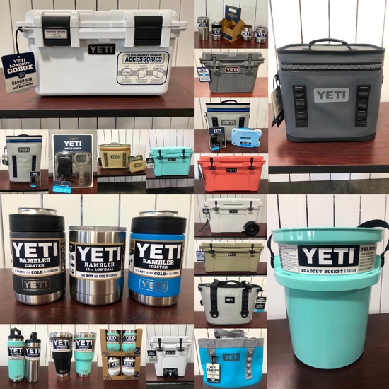 New YETI Coolers, Drinkware, Accessories Auction