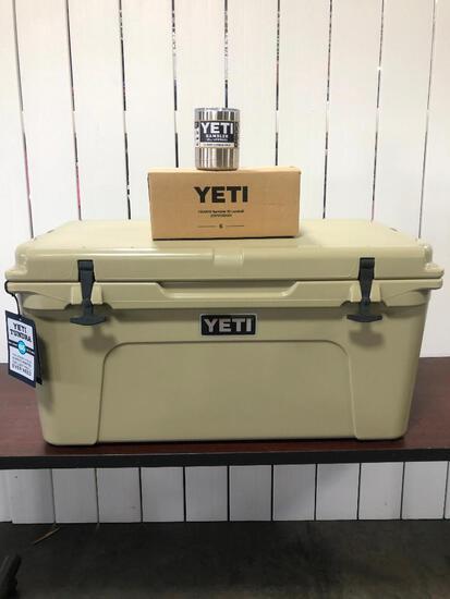 YETI Tundra 65 - Tan w/6 Pack of Stainless YETI Lowballs