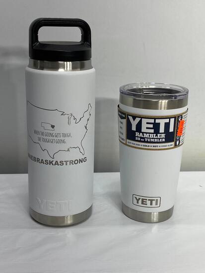Yeti 26oz Rambler Bottle w/ Nebraska Strong Engraving, Yeti 20oz Rambler Tumbler White