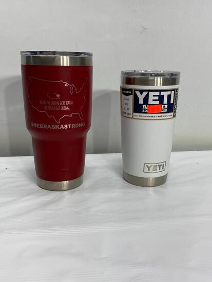 Yeti 30oz Ramber Tumbler w/ Nebraska Strong Logo Brick Red, Yeti 20oz Rambler Tumbler White