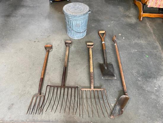 Antique Garden Tools, Galvanized Trash Can, Cob Fork, Hay Forks, Shovel