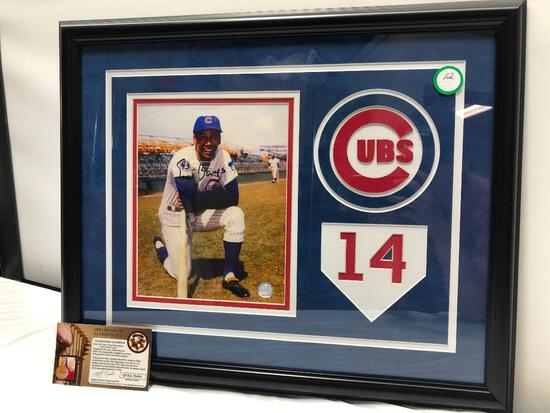 "Ernie Banks, Mr. Cub Signed Photograph Matted & Framed Under Glass, 22"" X 18"", Signed C.O.A"