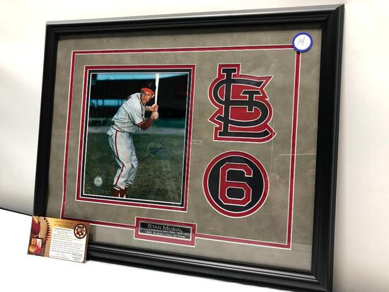 "Stan Musial Signed Photograph, 22"" X 18"", Matted & Framed Under Glass, Signed C.O.A"