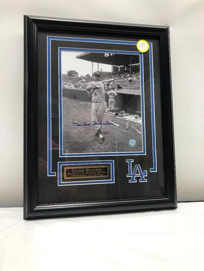 "Duke Snider, Signed Photograph 18"" X 22"", Framed and Matted Under Glass, Signed C.O.A"