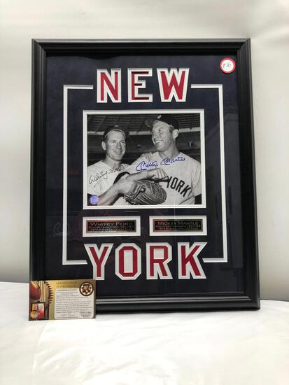 "Mickey Mantle/Whitey Ford Signed Photograph 18"" X 22"" Framed & Matted Under Glass, Dual Signed C.O.A"