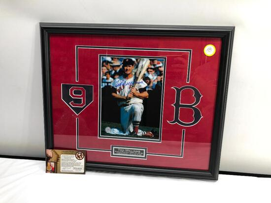 "Ted Williams Signed Photograph, Matted and Framed Under Glass, 22"" X 18"", Signed C.O.A"