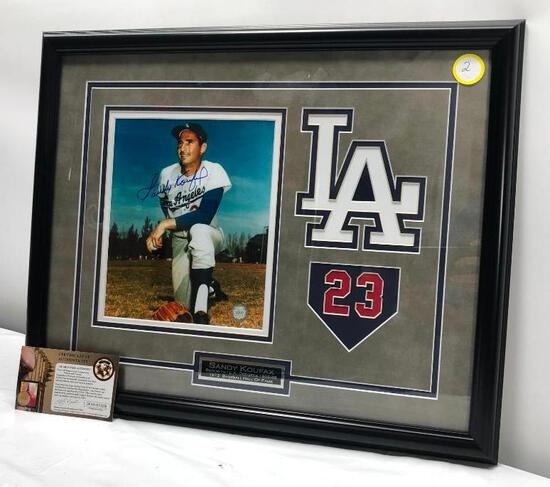 "Sandy Koufax, Signed Photograph Matted & Framed Under Glass, 17.5"" X 22"", Signed C.O.A"