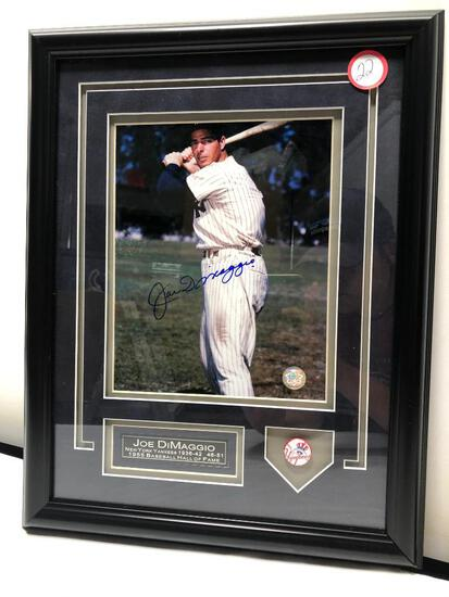 "Joltin' Joe DiMaggio Signed Photograph, Framed & Matted Under Glass, 14"" X 18"", Signed C.O.A"
