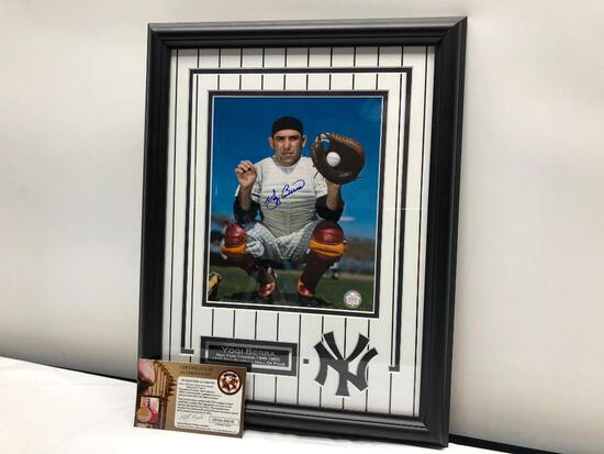 "Yogi Berra Signed Photograph, Framed and Matted Under Glass, 14"" X 18"", Signed C.O.A"