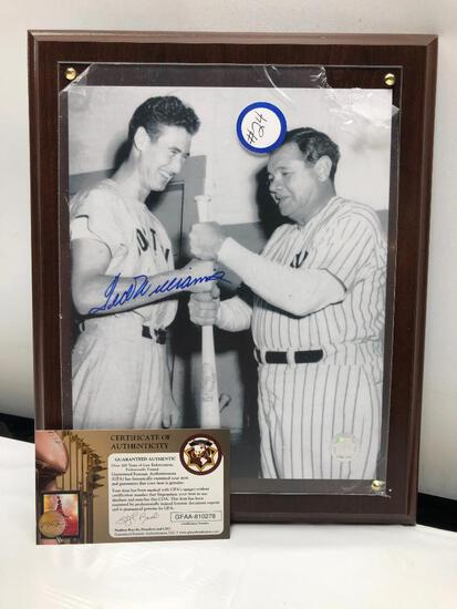"Babe Ruth & Ted Williams Framed & Matted Signed Photograph by Williams, 10"" X 13"", C.O.A,"