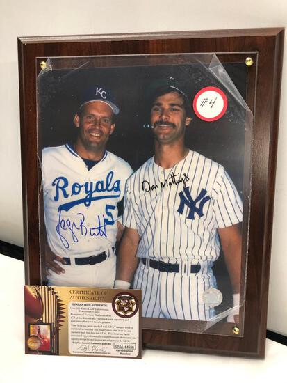 "George Brett / Don Mattingly Signed Photograph, Framed Under Glass, 10"" X 13"", Dual Signed C.O.A"