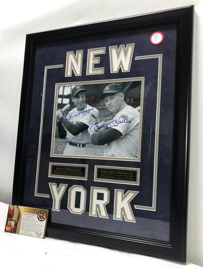 "Mickey Mantle/ Joe DiMaggio Signed Photograph, Matted & Framed Under Glass, 18"" X 22"", C.O.A"