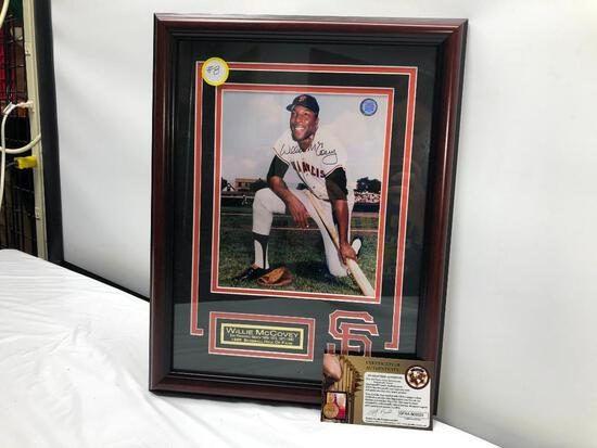 "Willie McCovey Signed Photograph, Matted & Framed Under Glass, 14"" X 18"", Signed C.O.A"