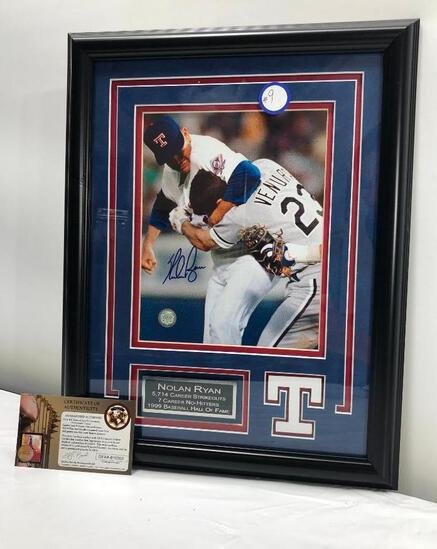 "Nolan Ryan Fight w/ Ventura Photograph, Matted & Framed Under Glass, 14"" X 18"", Signed C.O.A"