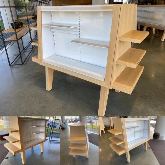 Custom Made Merchandiser w/ Adjustable Shelves & LED Lighting, 75in Long x 30in Wide x 61in High