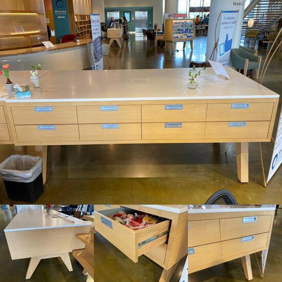 Custom Made Storage Work Table w/ Drawers, Made by Premier Store Fixtures NY - 8ft x 4ft x 41.5in Ta