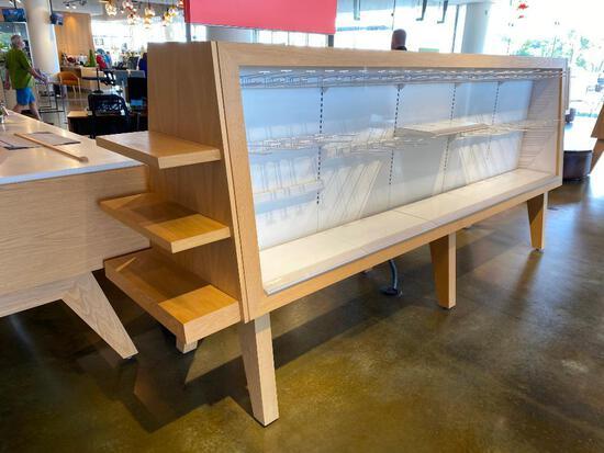 Custom Made Merchandiser w/ Adjustable Shelves & LED Lighting - 128in Long x 61in High x 30in Wide