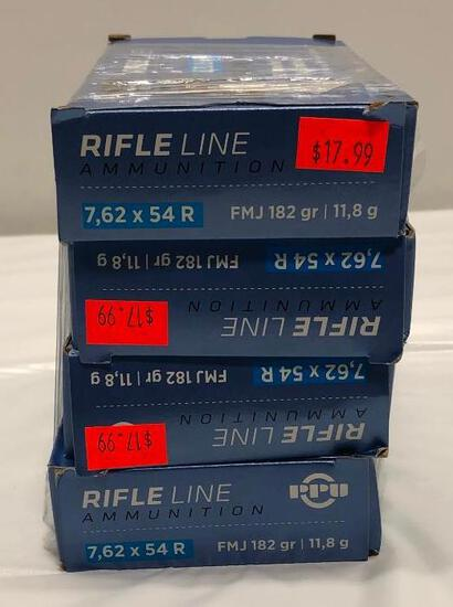 New Ammo: 4 Boxes of 7.62 x 54 R, FMJ 182 gr | 11.8 g, Centerfire Rifle Cartridges, 80 Rounds Total